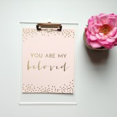 You Are My Beloved Gold Wall Print in Blush