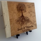 Rustic Wedding Guest Book, Engraved Wood, Wedding Guest Book