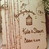 Birdcage Personalized Wedding Guest Book Natural Wood with Trees, LoveBirds, and your Initials Carved in a Tree