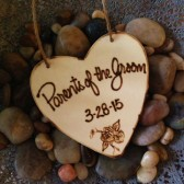 Wedding Ornament for the Parents of the Groom Wood Heart Personalized with Your Wedding Date