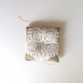 Linen and Vintage Lace Ring Bearer Pillow