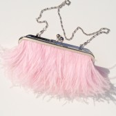 Light Pink Ostrich Feather Purse