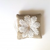 Vintage Lace and Burlap Ring Bearer Pillow