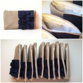 Personalized Navy Blue Ruffle Clutch