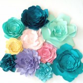 Spring colored paper flowers for event decor