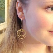 long gold circles earrings