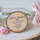 Love Birds Wood Slice Magnet