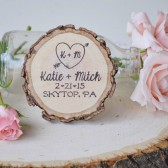 Heart with Arrow Wood Slice Magnet