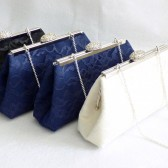 Navy Blue, Black And Ivory Bridal Party Gift Clutches