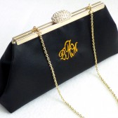Black and Gold Paisley Monogram Clutch