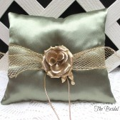 Olive Green Wedding Ring Pillow