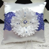 Purple Lace Beaded Wedding Ring Pillow