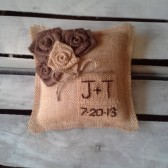 "8"" x 8"" Natural Burlap Ring Bearer Pillow w/ Rosettes -Jute Twine-Custom-Intials & Wedding Date"