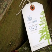 Pine Tree Save the Date Magnet Tag
