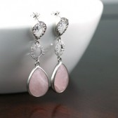 Pink Earrings, Silver Earrings