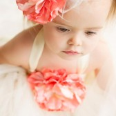 Ivory and Coral Flower Girl Dress