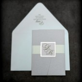 Blush glitter pocket fold letterpress invitation.