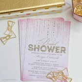 Pink & Gold Glitter Look Bridal Shower Invitations by The Spotted Olive