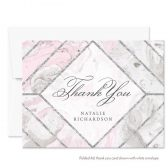 Pink & Gray Marble Personalized Thank You Cards by The Spotted Olive