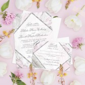 Pink & Gray Marble Wedding Invitations by The Spotted Olive
