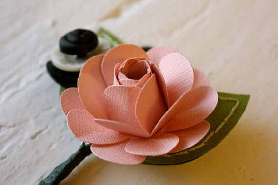 pink paper boutonniere (2)