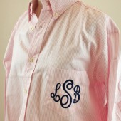 Pink Stripe Monogram Bridesmaid Shirt