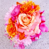 Coral Pink Bridal Bouquet, Orange Wedding Flowers Crystal Bling