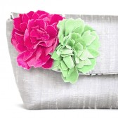 silk wedding clutch with velvet peonies