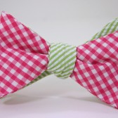 Pink and green bow tie