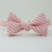 Pink and Orange Seersucker Bow Tie