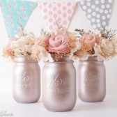 Blush Rose Gold painted mason jars