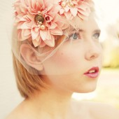 Blush blossom veil with vintage brooches