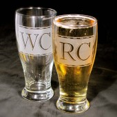 Gifts for groomsmen Monogrammed Pilsner Glasses