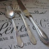 Vintage Silverware Wedding Place Setting Knife Fork Spoon