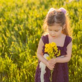 Plum Flower Girl's Dress