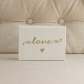 Pocket sized Wedding Vow Book - Love Script with Heart Silk Folio Vow Keepsake - Gold Foil Wedding Vow Holder