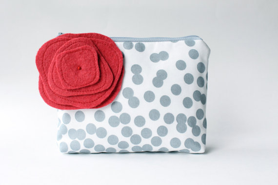polka dot clutch with red flower