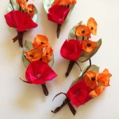 6 Orange Poppy flowers and Pink garden rose boutonnieres for Wedding Groomsmen
