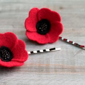 Felt Poppy Hair Pin Set