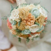 Bridal Bouquet -Peach, Coral, Mint, Champagne, Ivory, Natural Bridal Bouquet, Keepsake Bouquet