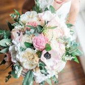 Bridal Bouquet - Silk Flowers, Sola Flowers, Anemones, Cottage Roses, Peonies, Seeded Eucalyptus, Berry Spray, Wedding Bouquet, Hand-tied