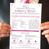 Elegant programs for a modern or traditional wedding. Event programs customized to match your wedding. Lots of content! DIY or printed.