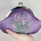 Purple lavender calla lily clutch