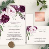 Plum purple wedding invitation set