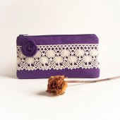 Zippered Pouch Bridal Party Gift clutch Bridesmaid Gift Idea Purple Rosette Lace Wedding clutch, purse, pouch by Lolos