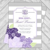 purple gray bridal shower invite, modern stripes and flowers printable