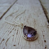 Purple Faceted Teardrop Bridesmaid Necklace