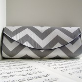 Chevron gray and white zig zag clutch