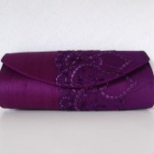 Purple silk and lace clutch