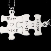 couple set puzzle piece necklaces